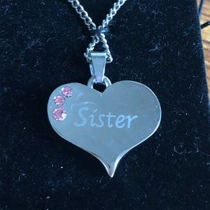 Sister Heart Birthstone Necklace Silver tone